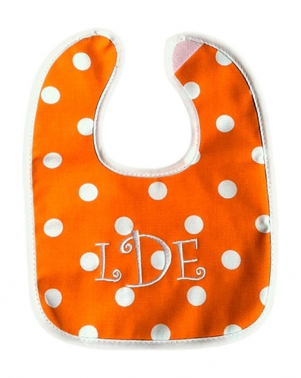 Custom Baby Bib Polka Dots Orange/White